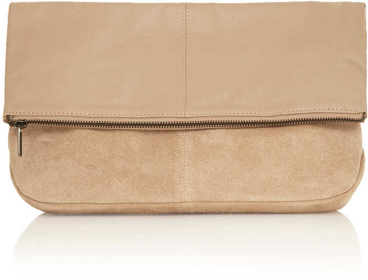 Topshop Leather Fold Over Clutch