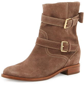 Kate Spade New York Sabina Suede Buckle Bootie, Mousse $328 thestylecure.com