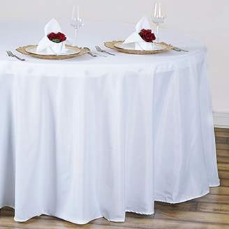 """Efavormart 120"""" Wholesale Round Tablecloth Polyester Round Table Linens for Wedding Party Banquet Restaurant - White"""