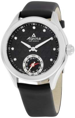 Alpina Alpiner AL285STD3C6 Black Dial Black Leather Strap 39mm Womens Watch