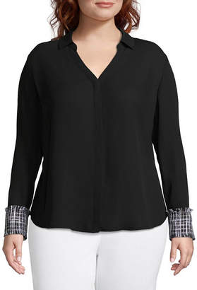 WORTHINGTON Worthington Long Sleeve Button Front Blouse with Cuff Detail - Plus