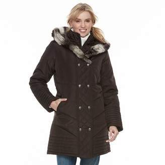 KC Collections Women's Faux Fur Trim Double Breasted Puffer Coat