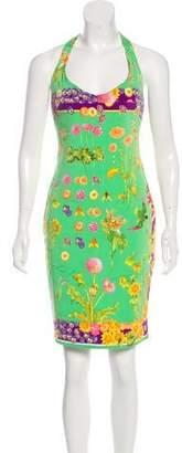 Versace Silk Floral Print Knee-Length Dress