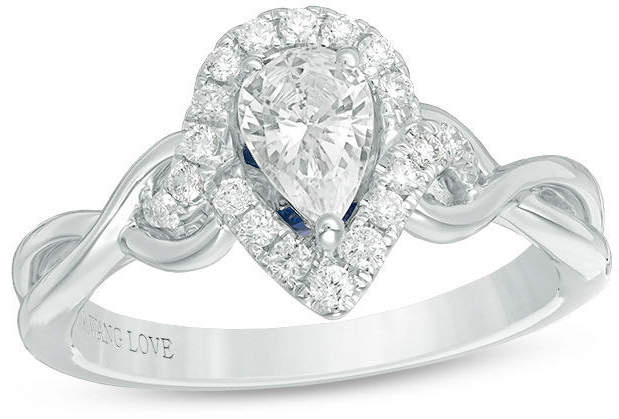 Zales Vera Wang Love Collection 1 CT. T.W. Pear-Shaped Diamond Frame Twist Engagement Ring in 14K White Gold