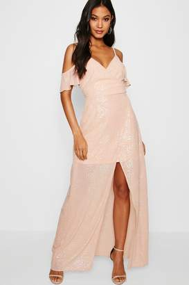boohoo Boutique Metallic Wrap Maxi Dress