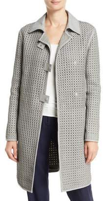 Emporio Armani Pietra Waffle-Weave Leather Topper Jacket