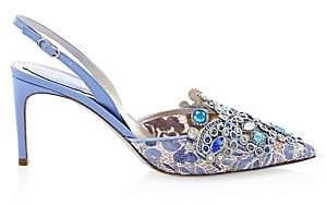 Rene Caovilla Women's Bejeweled Lace Slingback Heels