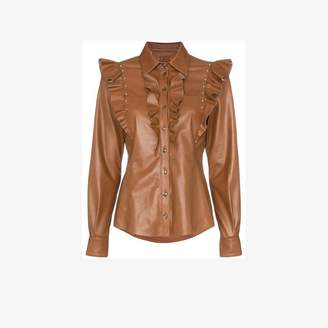 Skiim Darren ruffled leather shirt
