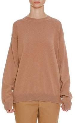 Jil Sander Round-Neck Oversized Cashmere Sweater with Side Insets