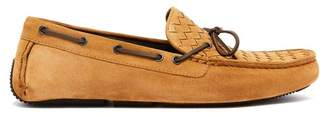 Bottega Veneta - Intrecciato Suede Loafers - Mens - Camel