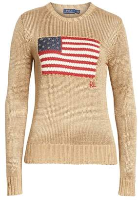 Polo Ralph Lauren Metallic Cotton Blend Flag Sweater
