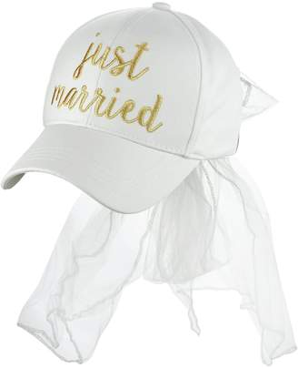 C&C C.C Women's Bridal Metallic Gold Embroidered Adjustable Lace Veil Baseball Cap