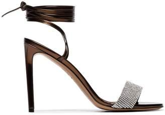 Alexandre Vauthier bronze Kim 100 crystal embellished leather sandals