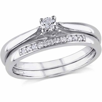 Miabella 1/6 Carat T.W. Diamond Sterling Silver Bridal Set