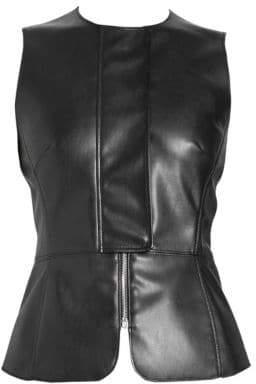 6a73ebe69f7 Cédric Charlier Women s Faux-Leather Peplum Top - Black - Size 38 (