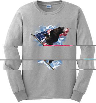 Express Yourself Shirts Yourself Adult Unisex Patriotic Flying Eagle Long Sleeve T-Shirt ( -)