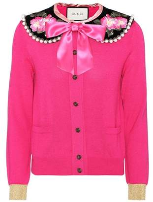 Gucci Embellished cashmere and silk cardigan