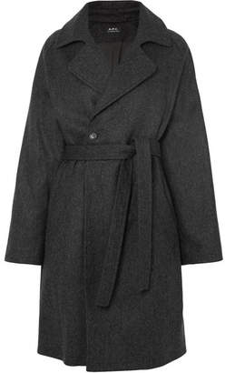 A.P.C. Bakerstreet Belted Wool-blend Coat - Gray