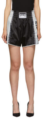 Versace Silver and Black Boxing Shorts