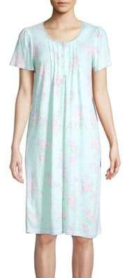 Miss Elaine Floral Short Sleeve Nightgown