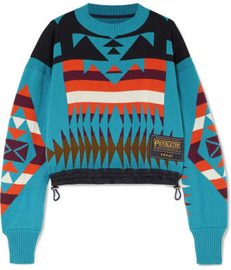 Sacai Pendleton Shell-trimmed Intarsia Cotton-blend Sweater - Blue