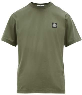 Stone Island Logo Patch Cotton Jersey T Shirt - Mens - Dark Green