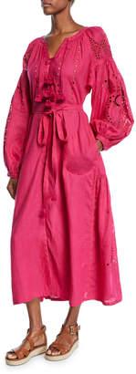 Vita Kin Cherry-Blossom Blouson-Sleeve Tassel-Tie Long Linen Dress