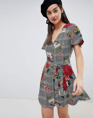 Brave Soul button through dress in floral check print