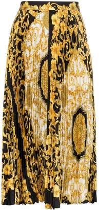 Versace Baroque-print pleat skirt