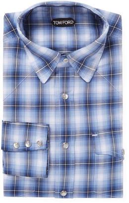 Tom Ford Plaid Pocket Dress Shirt