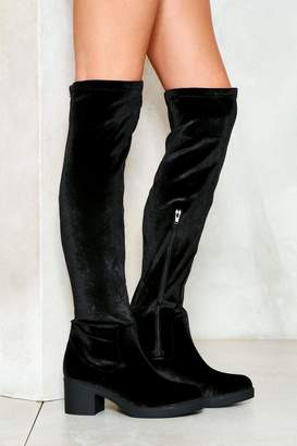Nasty Gal Side Kick Velvet Over-the-Knee Boot