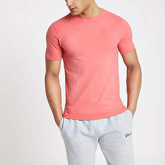 River Island Mens Pink muscle fit crew neck T-shirt