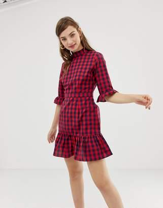 Glamorous high neck tea dress in check