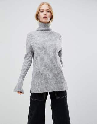 Shae Chunky Rib High Neck Alpaca and Merino Wool Blend Sweater