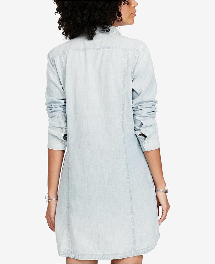 Denim & Supply Ralph Lauren Pintucked Chambray Cotton Dress 5