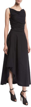 Narciso Rodriguez Sleeveless Cowl-Neck Asymmetric Midi Dress