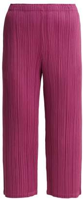 Pleats Please Issey Miyake - Pleated Cropped Trousers - Womens - Pink
