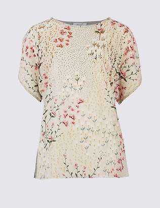 Marks and Spencer Floral Foil Print Short Sleeve T-Shirt