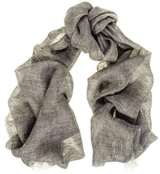 Black Smoky Grey Melange Linen Scarf