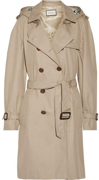 Gucci - Silk Faille-trimmed Cotton-blend Gabardine Trench Coat - Sand