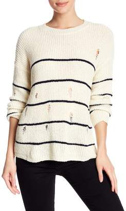 Cotton Emporium Distressed Striped Knit Sweater