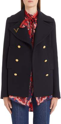 Valentino V-Detail Double Face Wool Peacoat