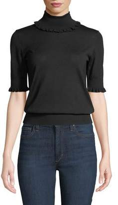 Michael Kors Ruffled-Trim Turtleneck Elbow-Sleeve Merino Knit Top