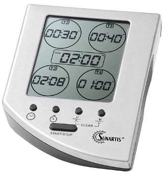 Camilla And Marc Sunartis EC341 A Digital Kitchen Timer With Stainless Steel Front 5 Zone Timer, Black, 11 x 8.5 x 4 cm