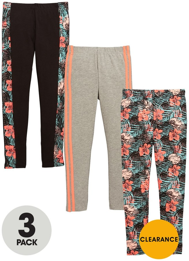 Very Girls Floral And Stripe Leggings