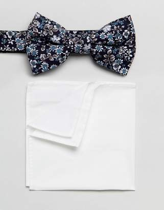 Moss Bros Wedding Bow Tie & Pocket Square In Navy Floral
