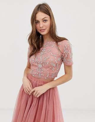 72da8af6896e49 Lace & Beads floral embellished crop top co ord in terracotta