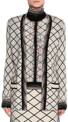 Missoni Check Jacquard Open-Front Cardigan, Beige/Black