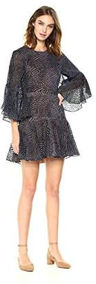 BCBGMAXAZRIA Azria Women's Baylee Woven Dotted Velvet Dress with Back Cutout