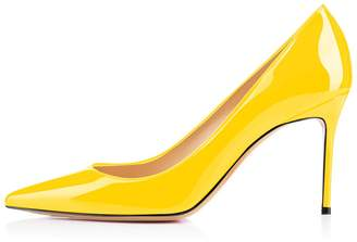 Eldof Women's High Heel Pumps Classic 3.2in Patent Pointed Toe Stilettos 8cm Wedding Party Dress Pumps US6